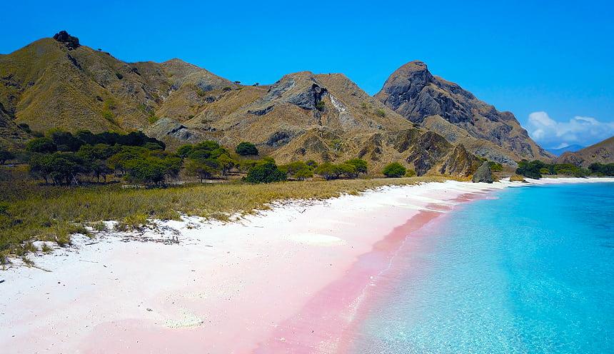 In primo piano una lunga spiaggia rosa che dall'angolo in basso a sinistra taglia la foto.