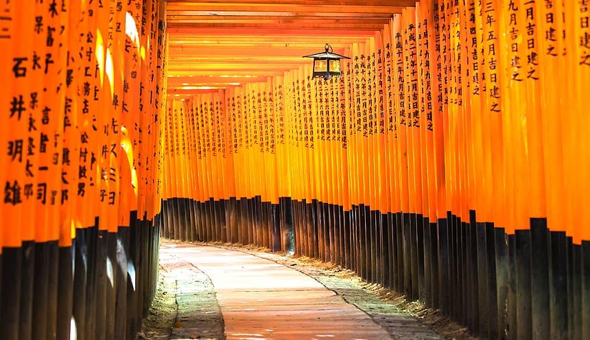 Un lungo corridoio di portali in legno rosso.