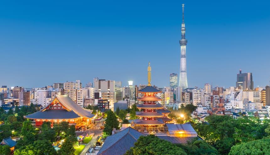 Lo skyline di Tokyo con alcune pagode, un'alta antenna e palazzi.