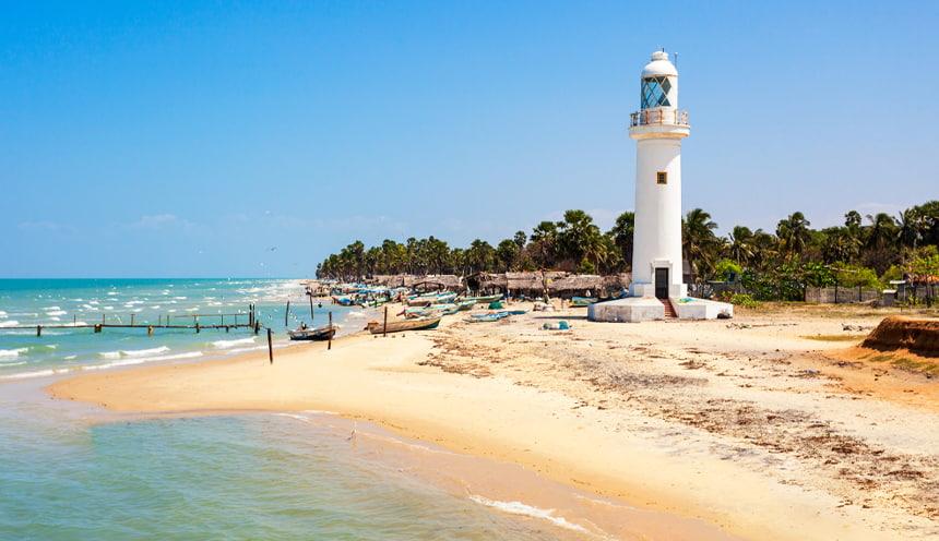 Foto di una spiaggia sulla destra di color giallino e un alto faro bianco. Alle spalle alberi e palme.