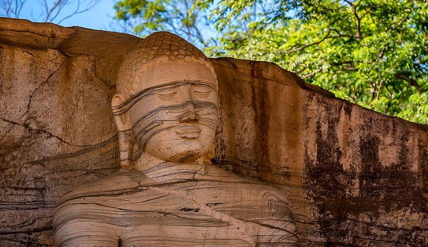 Particolare del volto del Buddha scolpito su una parete rocciosa.