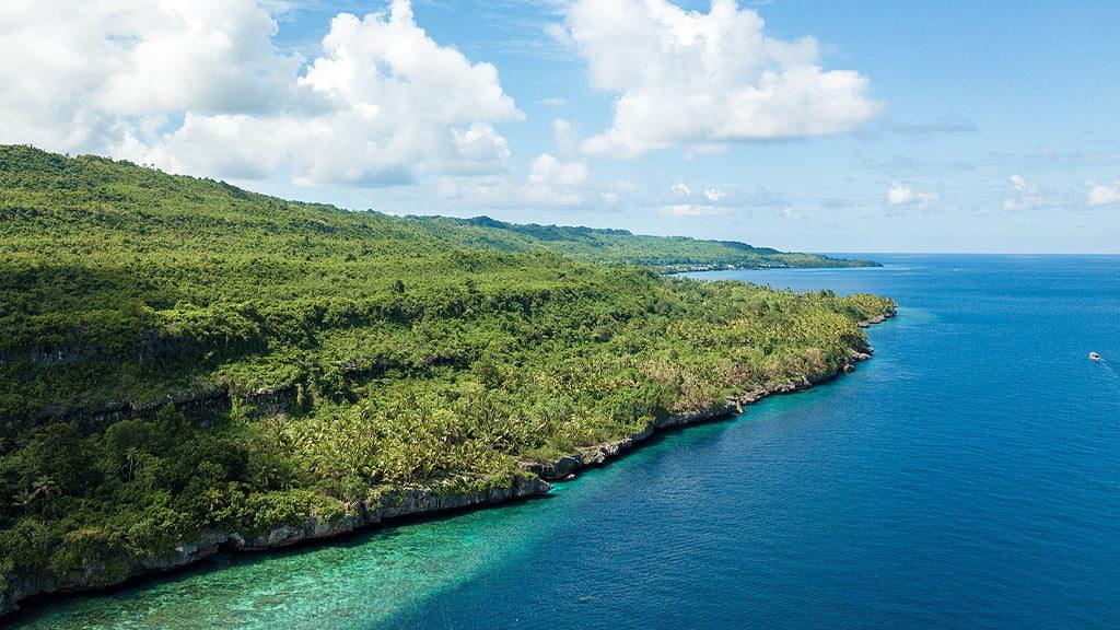 Uno scorcio della costa di una delle isole di Wakatobi interamente ricoperta da fitta vegetazione tropicale e sulla destra il blu profondo del mare