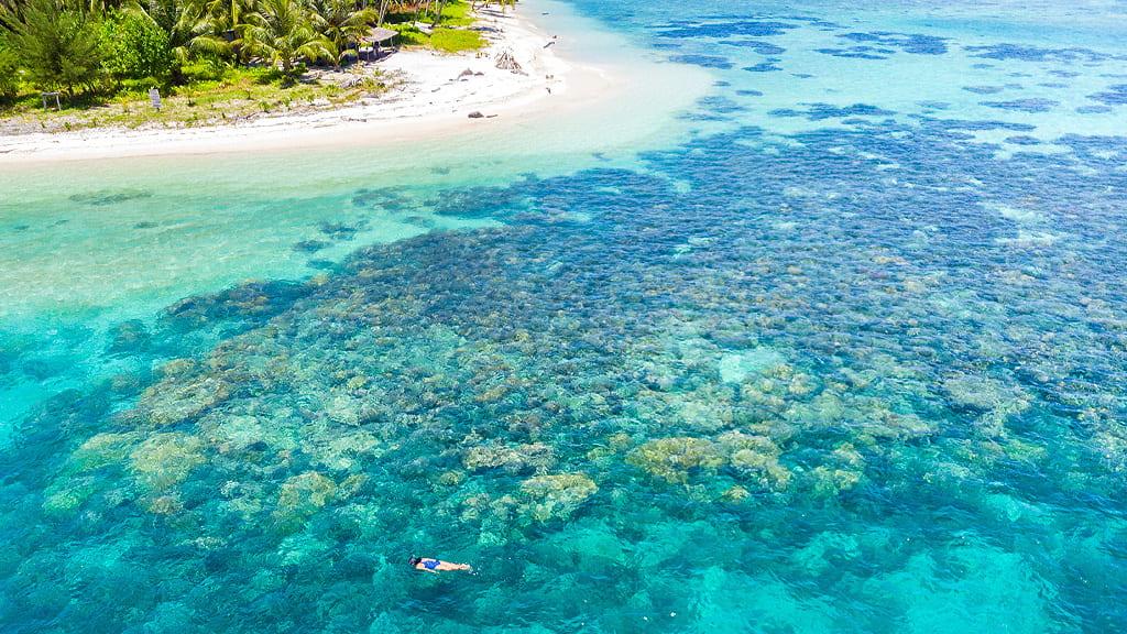 Vista panoramica di un tratto di costa con barriera corallina e acque turchesi mentre una donna fa snorkeling