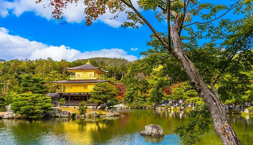 Un lago circondato da alberi e con una pagoda d'oro affacciata.